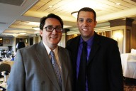 WGLS-FM Interim Assistant Station Manager Leo Kirschner (left) with former Student Station Manager John Salvatore.