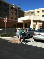 WGLS-FM Co-Operations Manager Ellen Hardy and Promotions Director Gianna Gugliuzza outside Courtyard Marriott.